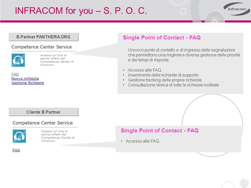 INFRACOM for you – Comunità Infracom Community INFRACOM Un insieme di strumenti a disposizione della comunità INFRACOM permettono la gestione della relazione attraverso lutilizzo delle componenti native del web quali il controllo remoto della postazione di lavoro, VoIP, webcam.
