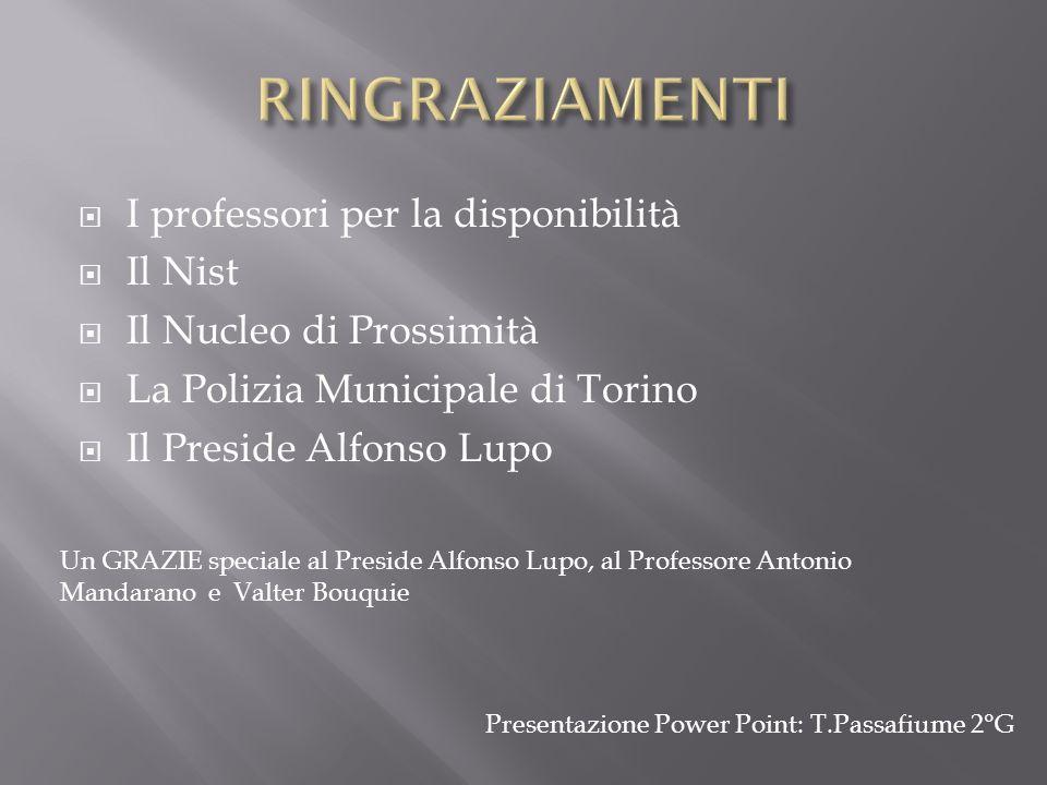 I professori per la disponibilità Il Nist Il Nucleo di Prossimità La Polizia Municipale di Torino Il Preside Alfonso Lupo Un GRAZIE speciale al Presid