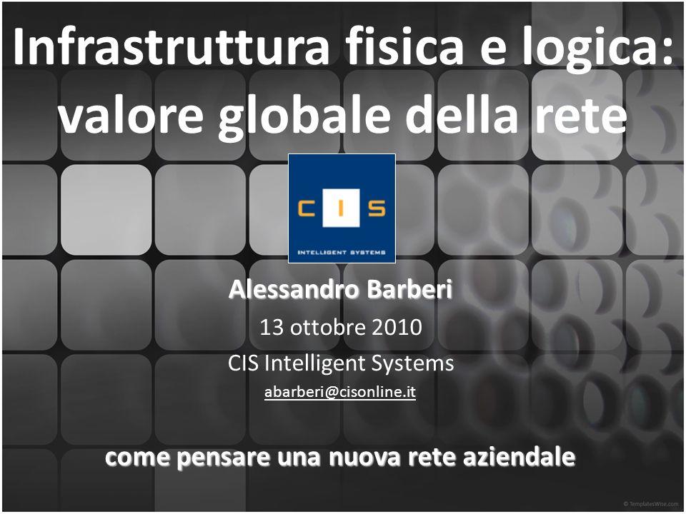 Infrastruttura fisica e logica: valore globale della rete Alessandro Barberi 13 ottobre 2010 CIS Intelligent Systems abarberi@cisonline.it come pensare una nuova rete aziendale