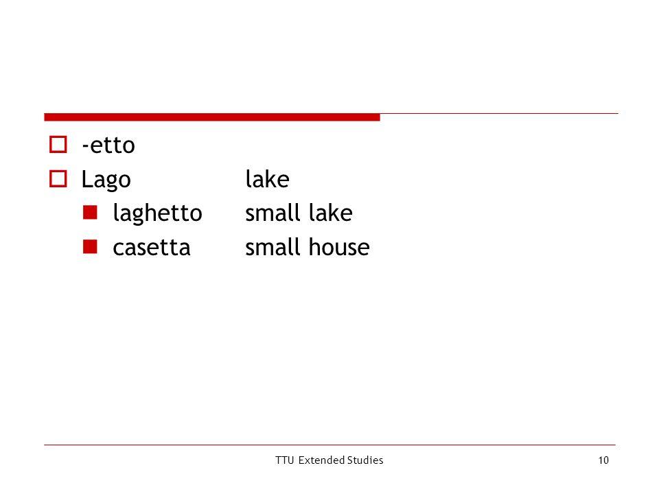 TTU Extended Studies10 -etto Lagolake laghettosmall lake casettasmall house