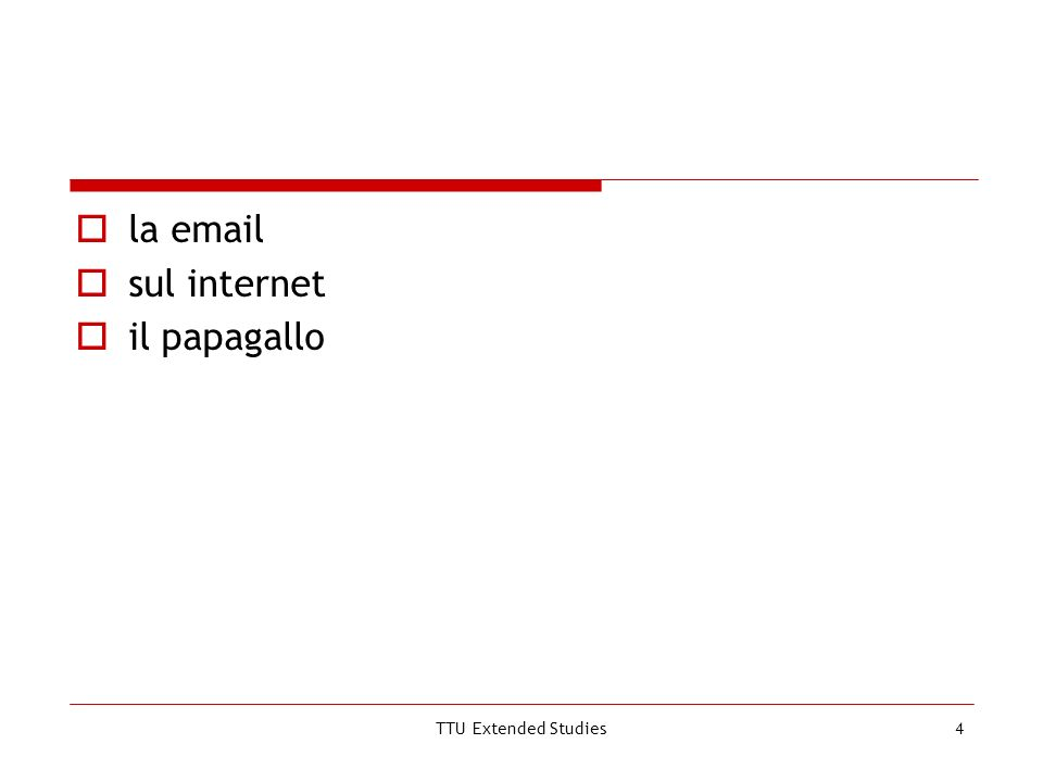 TTU Extended Studies4 la email sul internet il papagallo