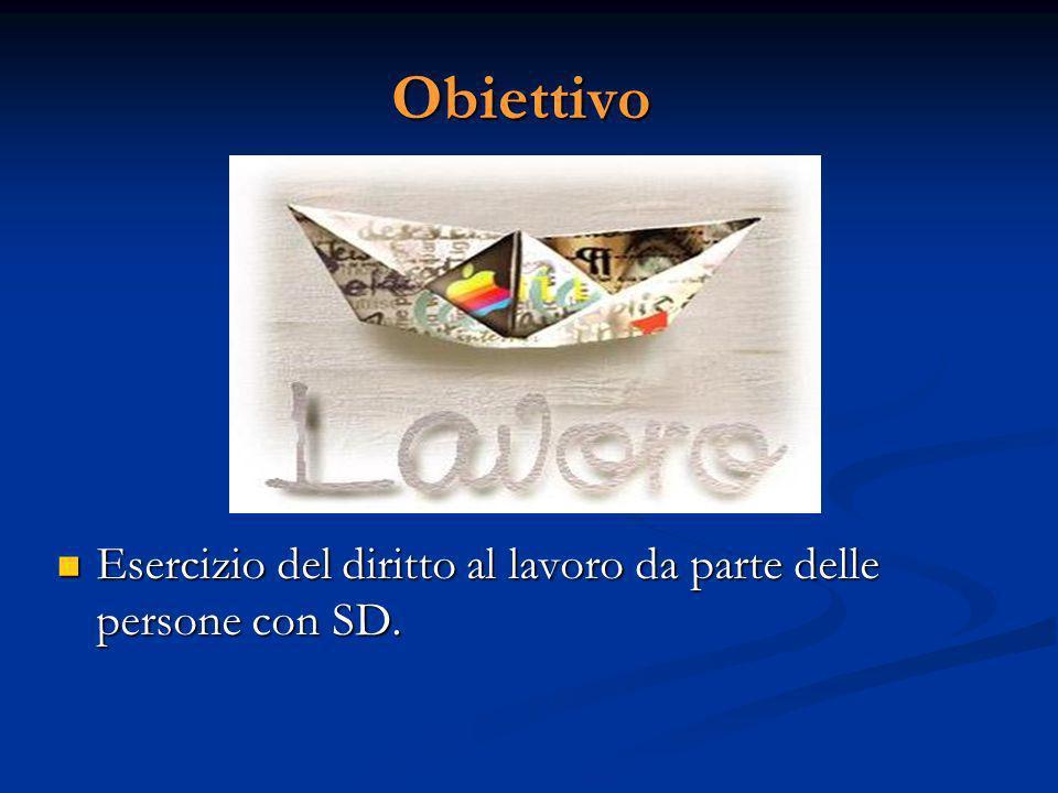 Obiettivo Esercizio del diritto al lavoro da parte delle persone con SD.