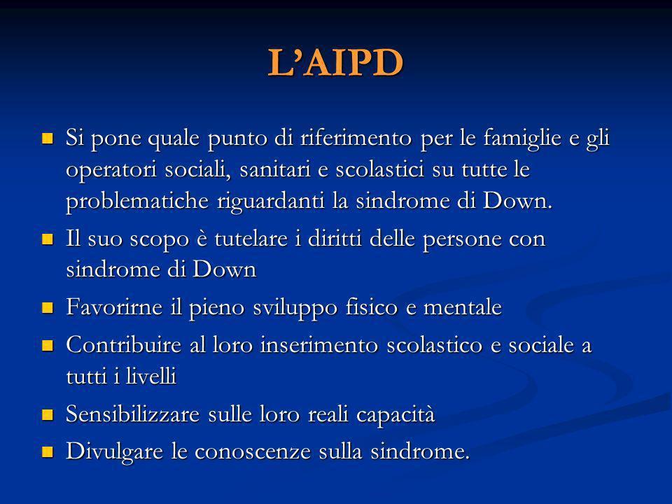 LAIPD Si pone quale punto di riferimento per le famiglie e gli operatori sociali, sanitari e scolastici su tutte le problematiche riguardanti la sindrome di Down.