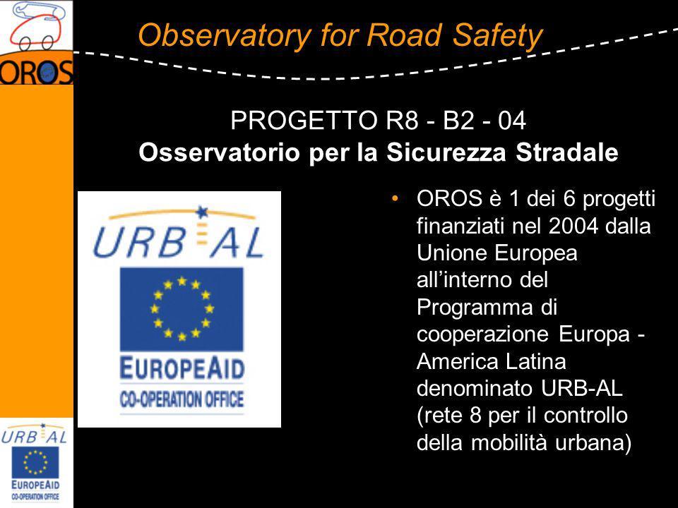 Observatory for Road Safety PROGETTO R8 - B2 - 04 Osservatorio per la Sicurezza Stradale OROS è 1 dei 6 progetti finanziati nel 2004 dalla Unione Europea allinterno del Programma di cooperazione Europa - America Latina denominato URB-AL (rete 8 per il controllo della mobilità urbana)
