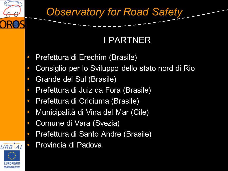 Observatory for Road Safety I PARTNER Prefettura di Erechim (Brasile) Consiglio per lo Sviluppo dello stato nord di Rio Grande del Sul (Brasile) Prefe