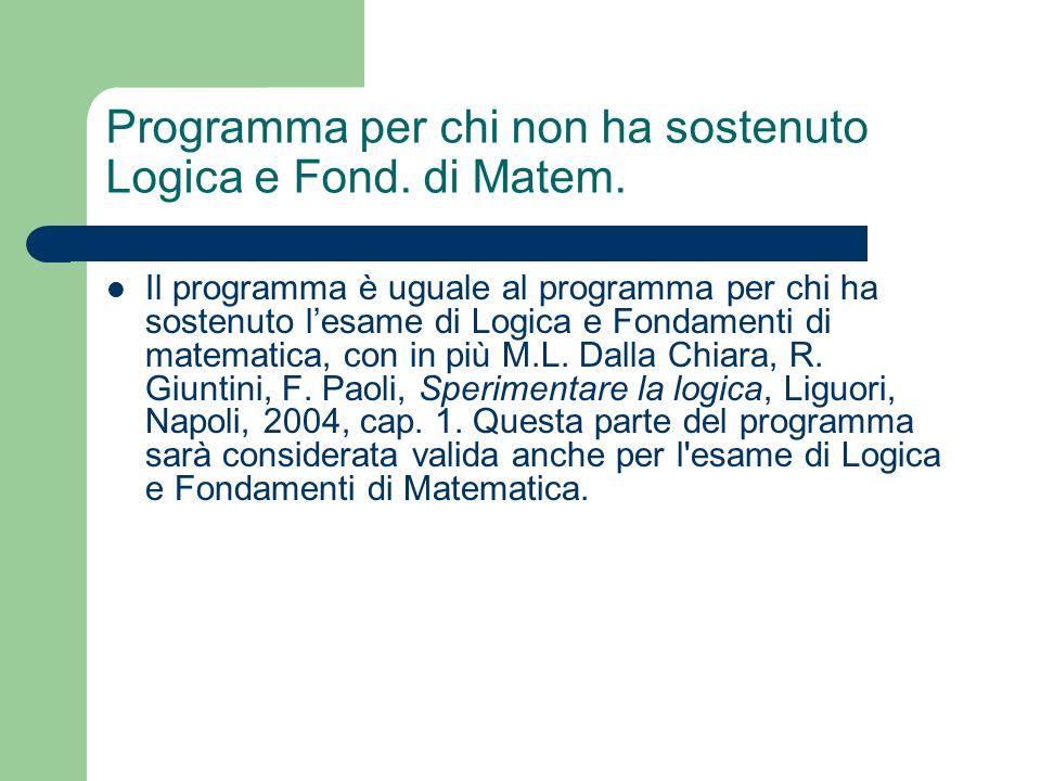 Programma per chi non ha sostenuto Logica e Fond. di Matem. Il programma è uguale al programma per chi ha sostenuto lesame di Logica e Fondamenti di m