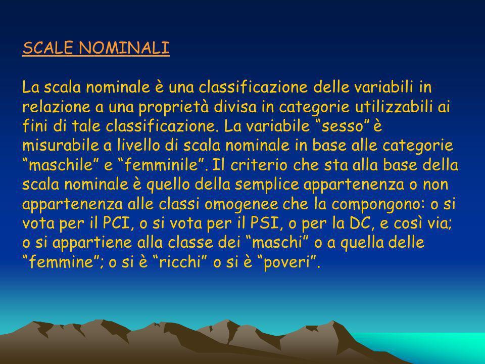 SCALE NOMINALI La scala nominale è una classificazione delle variabili in relazione a una proprietà divisa in categorie utilizzabili ai fini di tale classificazione.