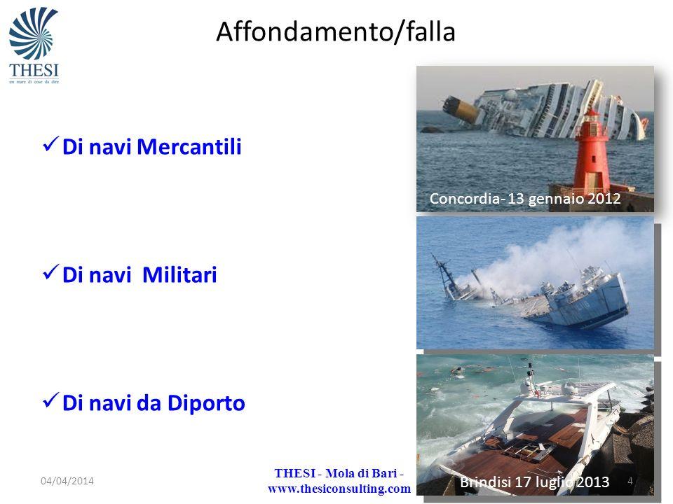 Affondamento/falla Di navi Mercantili Di navi Militari Di navi da Diporto Brindisi 17 luglio 2013 Concordia- 13 gennaio 2012 04/04/20144 THESI - Mola
