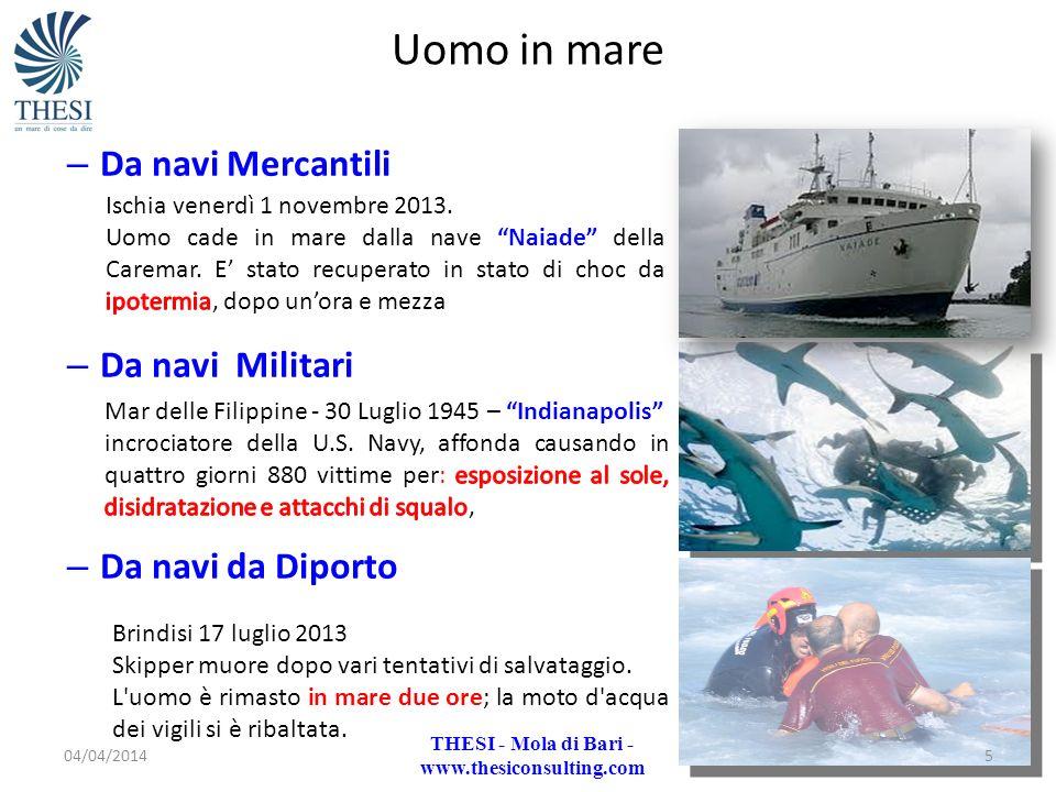 – Da navi Mercantili – Da navi Militari – Da navi da Diporto Uomo in mare Brindisi 17 luglio 2013 Skipper muore dopo vari tentativi di salvataggio. L'