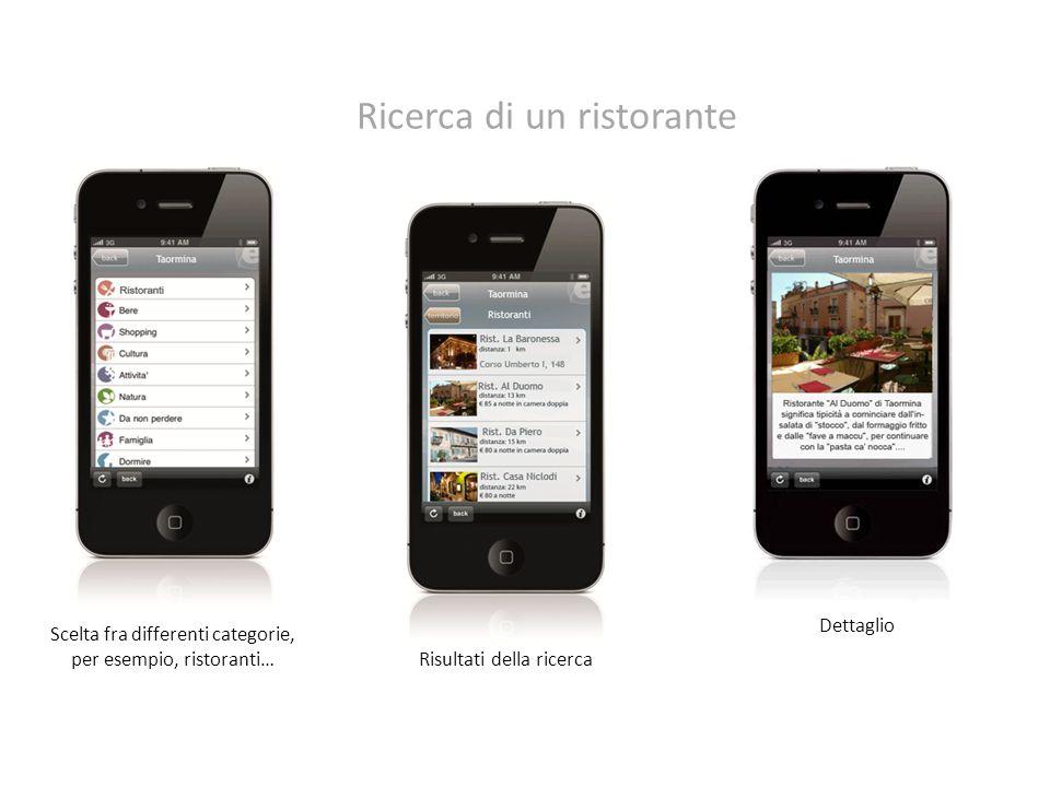 Scelta fra differenti categorie, per esempio, ristoranti… Risultati della ricerca Dettaglio Ricerca di un ristorante
