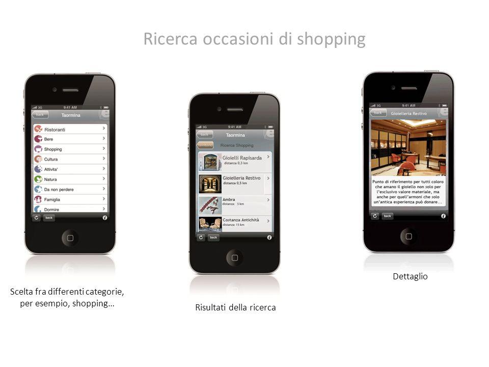 Scelta fra differenti categorie, per esempio, shopping… Risultati della ricerca Dettaglio Ricerca occasioni di shopping