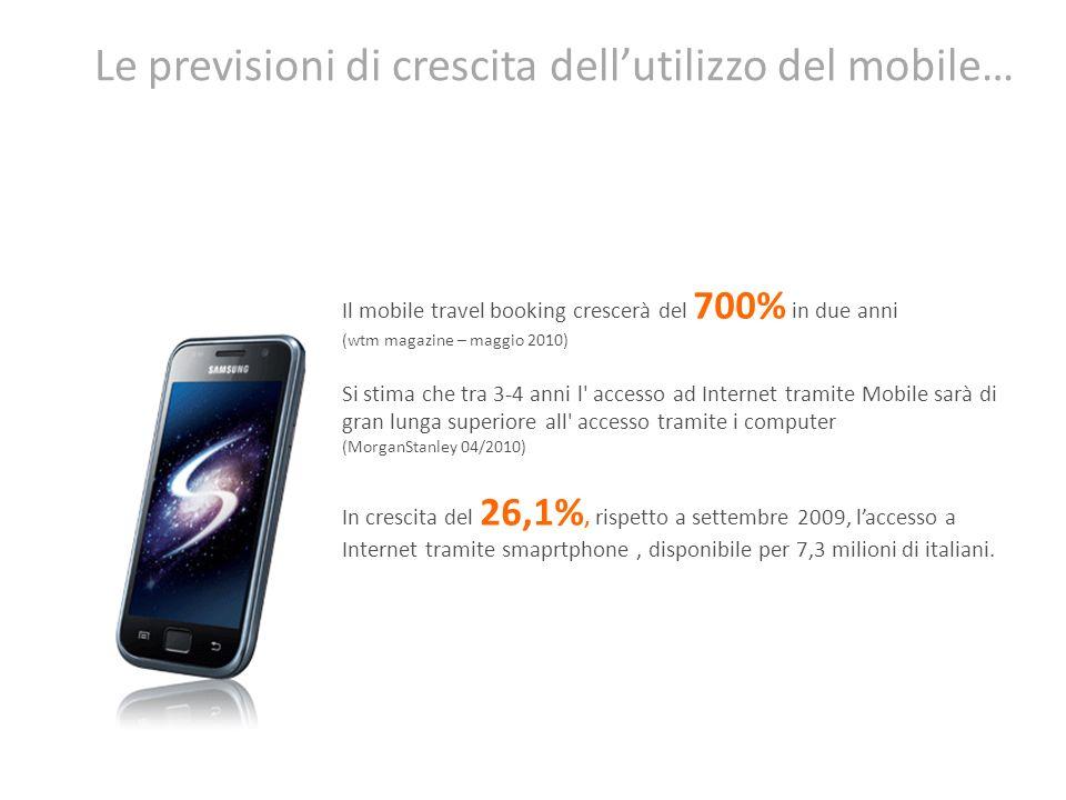 Le previsioni di crescita dellutilizzo del mobile… Il mobile travel booking crescerà del 700% in due anni (wtm magazine – maggio 2010) Si stima che tr