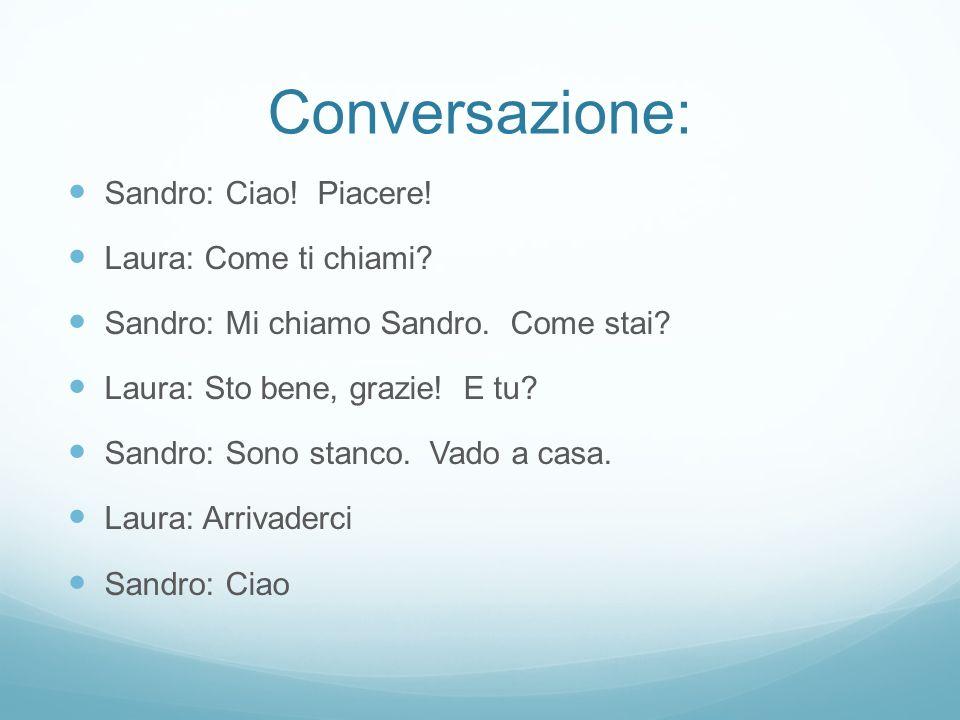 Conversazione: Sandro: Ciao.Piacere. Laura: Come ti chiami.