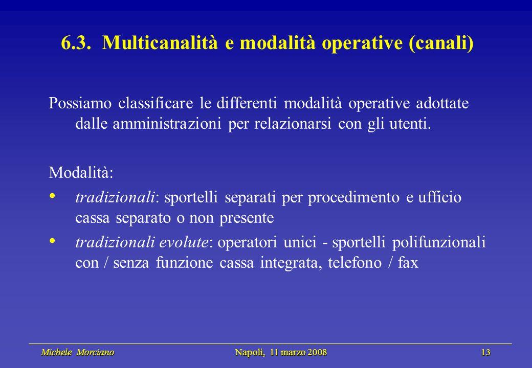 Michele Morciano Napoli, 11 marzo 2008 13 Michele Morciano Napoli, 11 marzo 2008 13 6.3. Multicanalità e modalità operative (canali) Possiamo classifi