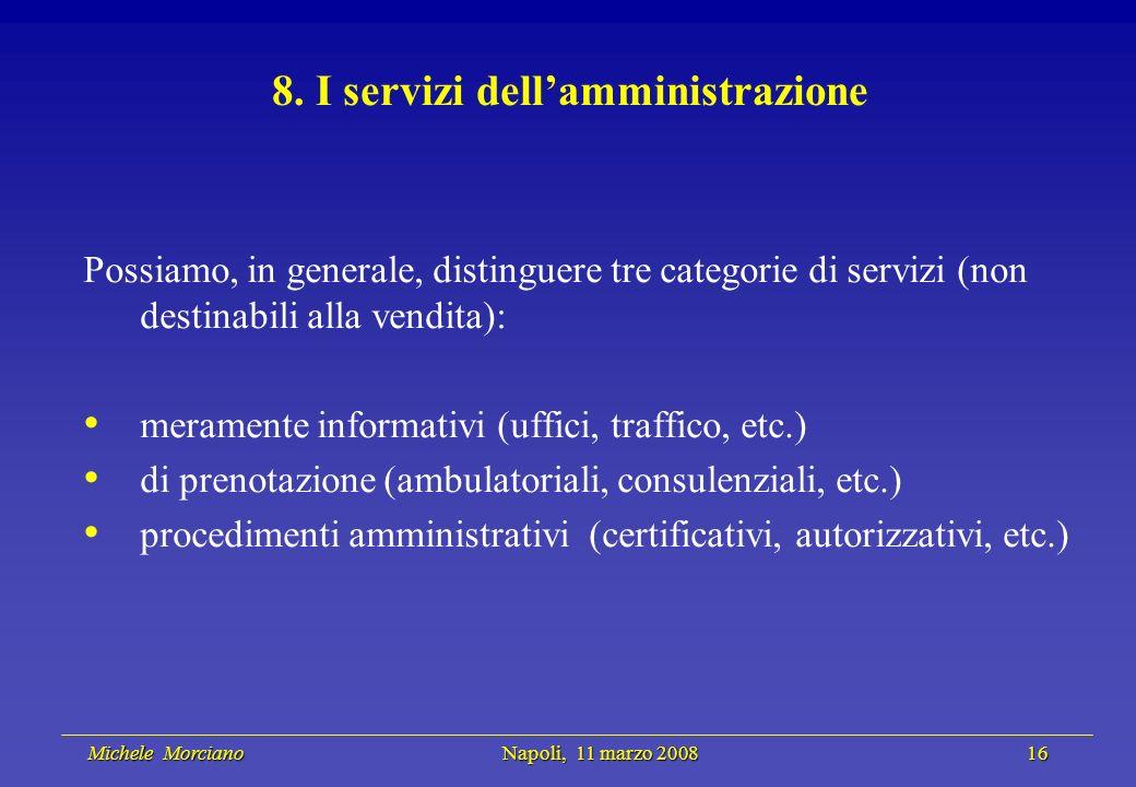 Michele Morciano Napoli, 11 marzo 2008 16 Michele Morciano Napoli, 11 marzo 2008 16 8. I servizi dellamministrazione Possiamo, in generale, distinguer