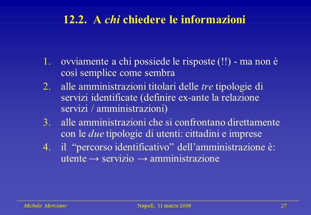 Michele Morciano Napoli, 11 marzo 2008 27 Michele Morciano Napoli, 11 marzo 2008 27 12.2. A chi chiedere le informazioni 1.ovviamente a chi possiede l
