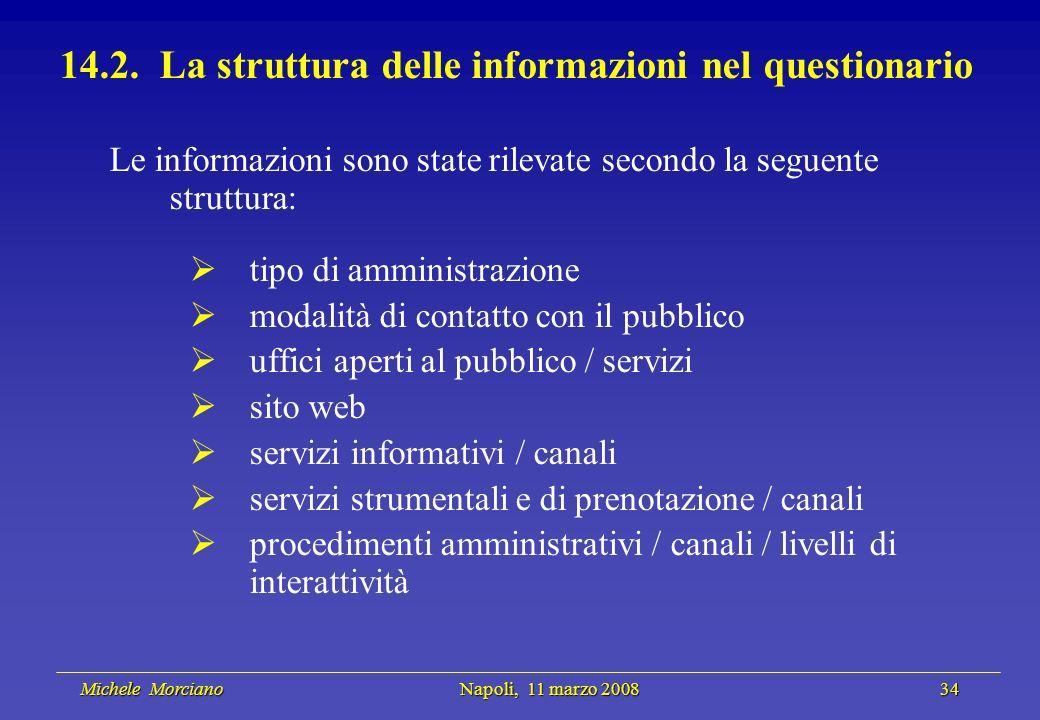 Michele Morciano Napoli, 11 marzo 2008 34 Michele Morciano Napoli, 11 marzo 2008 34 14.2. La struttura delle informazioni nel questionario Le informaz
