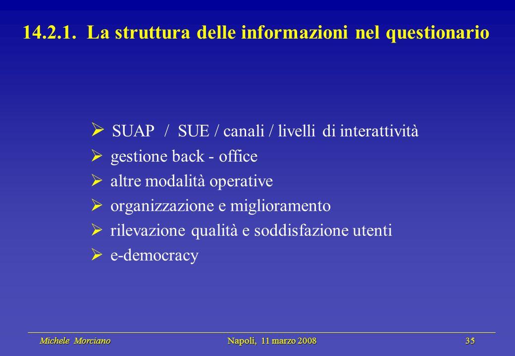 Michele Morciano Napoli, 11 marzo 2008 35 Michele Morciano Napoli, 11 marzo 2008 35 14.2.1. La struttura delle informazioni nel questionario SUAP / SU