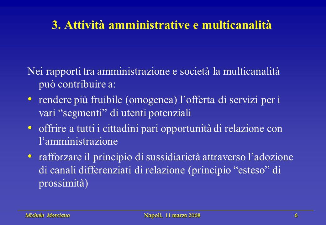 Michele Morciano Napoli, 11 marzo 2008 6 Michele Morciano Napoli, 11 marzo 2008 6 3. Attività amministrative e multicanalità Nei rapporti tra amminist
