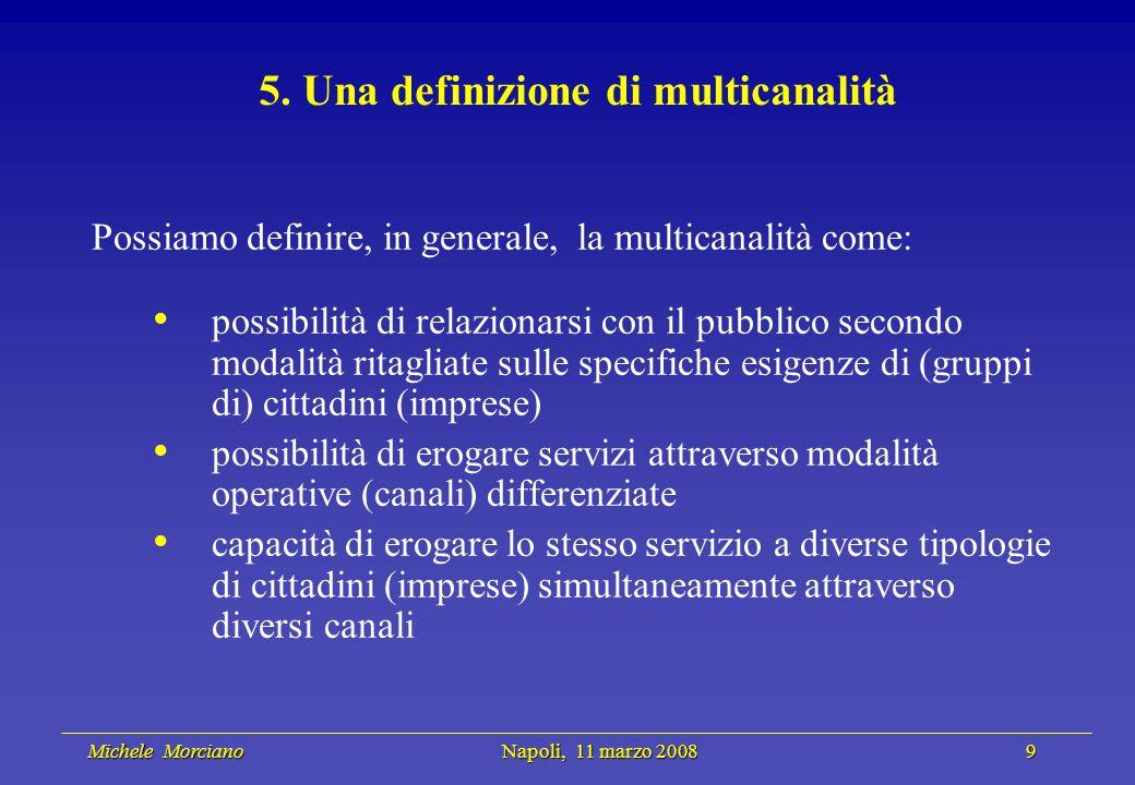 Michele Morciano Napoli, 11 marzo 2008 9 Michele Morciano Napoli, 11 marzo 2008 9 5. Una definizione di multicanalità Possiamo definire, in generale,