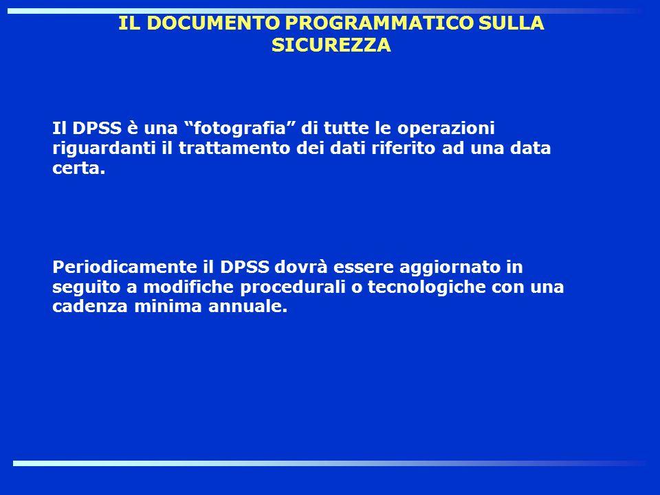 Il DPSS è una fotografia di tutte le operazioni riguardanti il trattamento dei dati riferito ad una data certa. Periodicamente il DPSS dovrà essere ag