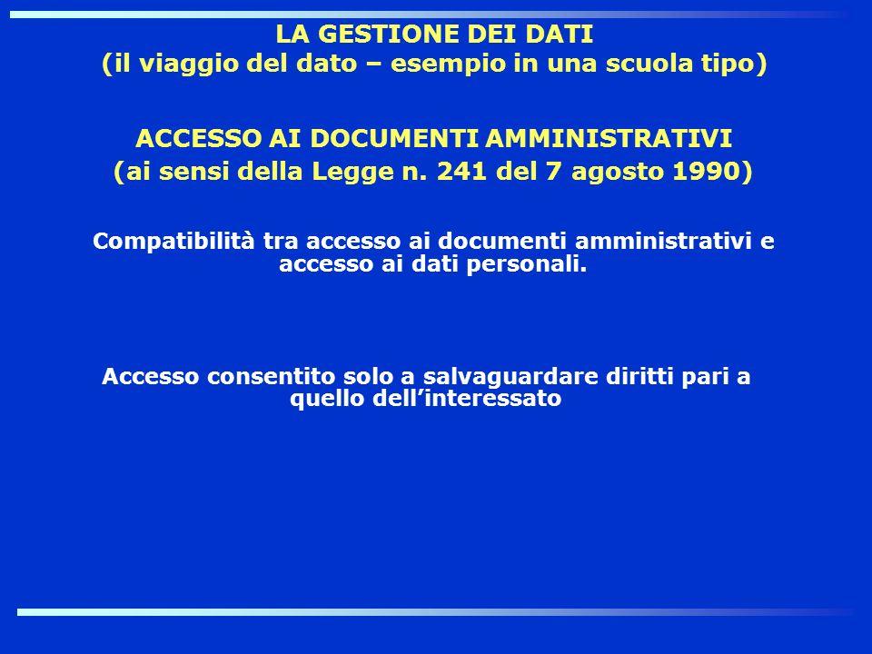 ACCESSO AI DOCUMENTI AMMINISTRATIVI (ai sensi della Legge n. 241 del 7 agosto 1990) Compatibilità tra accesso ai documenti amministrativi e accesso ai