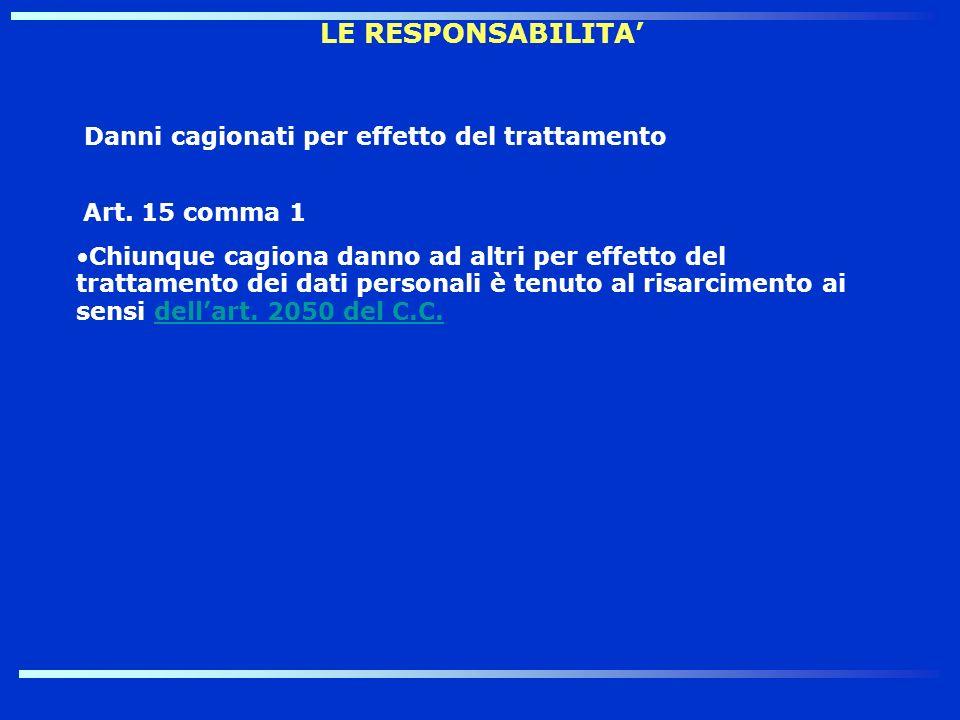 LE RESPONSABILITA Danni cagionati per effetto del trattamento Art. 15 comma 1 Chiunque cagiona danno ad altri per effetto del trattamento dei dati per