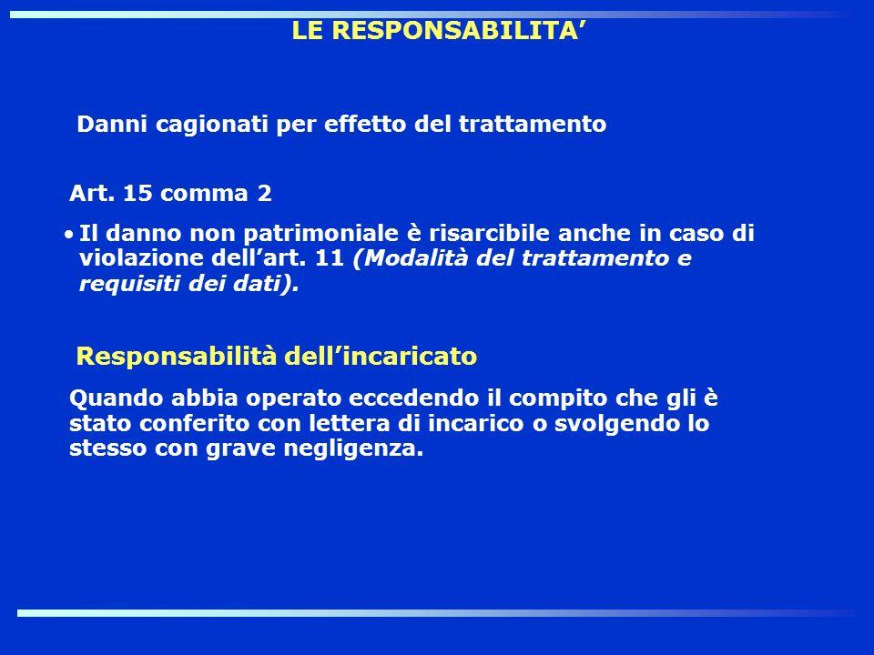 LE RESPONSABILITA Danni cagionati per effetto del trattamento Art. 15 comma 2 Il danno non patrimoniale è risarcibile anche in caso di violazione dell