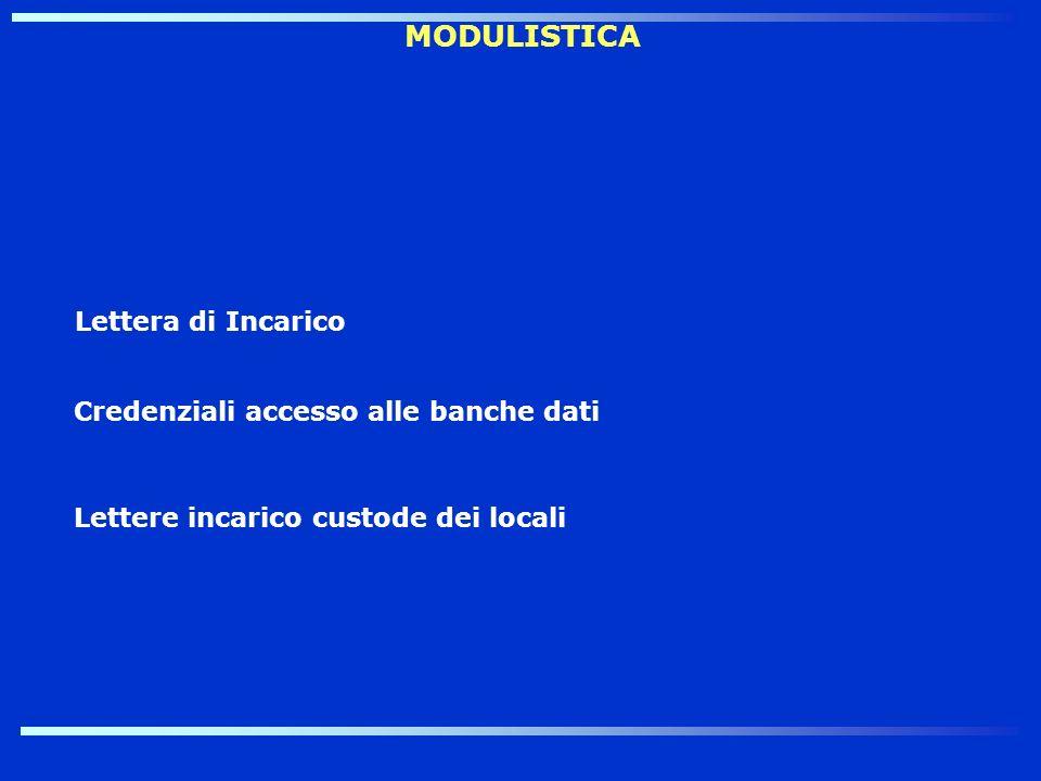MODULISTICA Credenziali accesso alle banche dati Lettere incarico custode dei locali Lettera di Incarico
