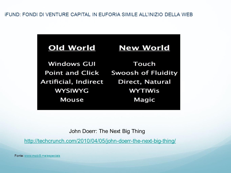 1.Marc iFUND: FONDI DI VENTURE CAPITAL IN EUFORIA SIMILE ALLINIZIO DELLA WEB Fonte: www.mobi9.me/especiaiswww.mobi9.me/especiais John Doerr: The Next