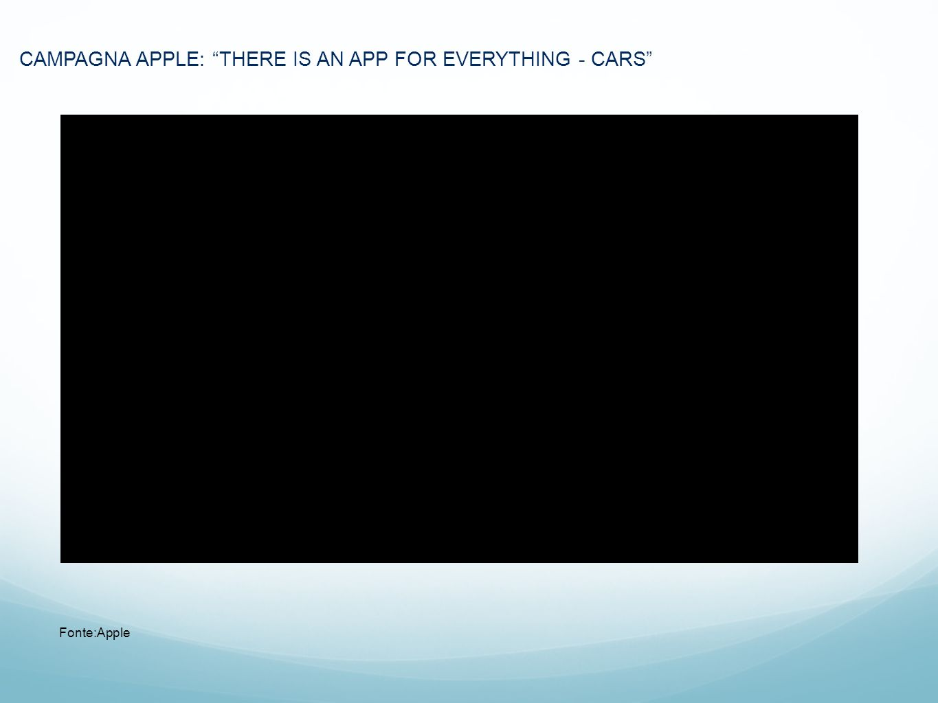 CAMPAGNA APPLE: THERE IS AN APP FOR EVERYTHING - CARS Fonte:Apple