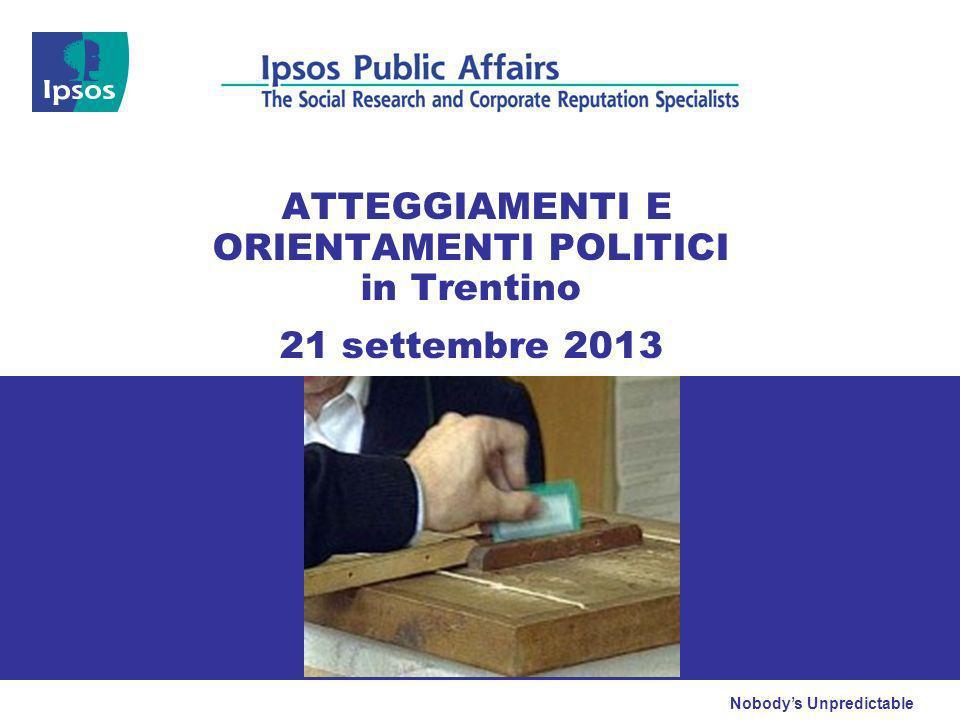 Nobodys Unpredictable ATTEGGIAMENTI E ORIENTAMENTI POLITICI in Trentino 21 settembre 2013