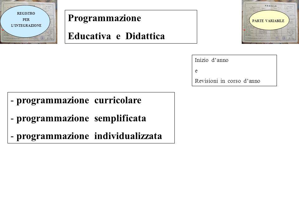 REGISTRO PER LINTEGRAZIONE Programmazione Educativa e Didattica Inizio danno e Revisioni in corso danno - programmazione curricolare - programmazione