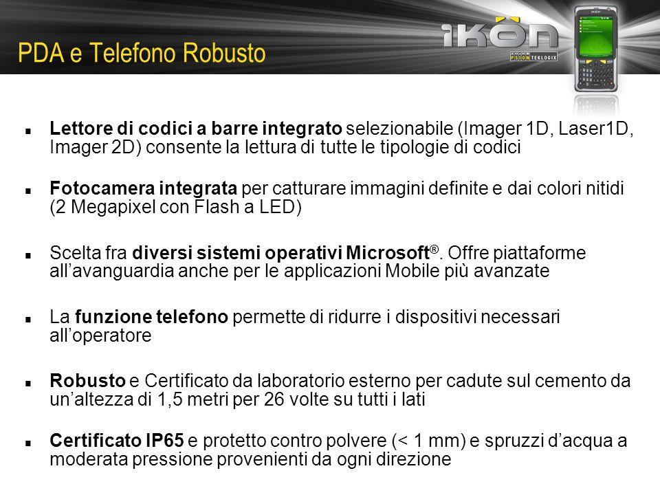 PDA e Telefono Robusto Lettore di codici a barre integrato selezionabile (Imager 1D, Laser1D, Imager 2D) consente la lettura di tutte le tipologie di codici Fotocamera integrata per catturare immagini definite e dai colori nitidi (2 Megapixel con Flash a LED) Scelta fra diversi sistemi operativi Microsoft ®.