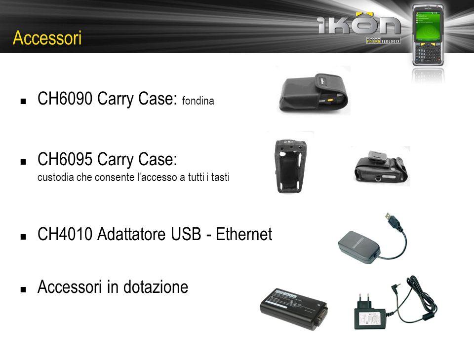 CH6090 Carry Case: fondina CH6095 Carry Case: custodia che consente laccesso a tutti i tasti CH4010 Adattatore USB - Ethernet Accessori in dotazione Accessori
