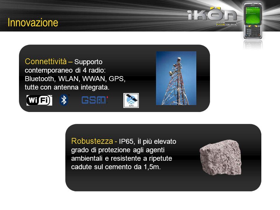 Innovazione Connettività – Supporto contemporaneo di 4 radio: Bluetooth, WLAN, WWAN, GPS, tutte con antenna integrata.