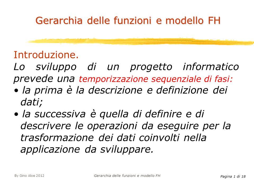 Pagina 1 di 18 By Gino Aloe 2012 Gerarchia delle funzioni e modello FH Introduzione. Lo sviluppo di un progetto informatico prevede una temporizzazion
