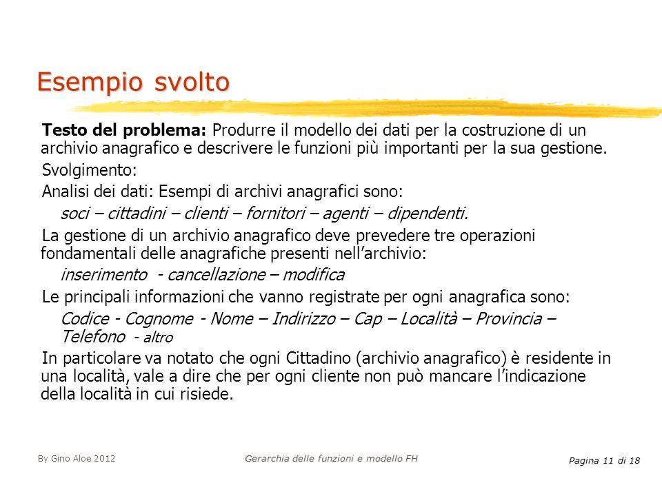 Pagina 11 di 18 By Gino Aloe 2012 Gerarchia delle funzioni e modello FH Testo del problema: Produrre il modello dei dati per la costruzione di un arch