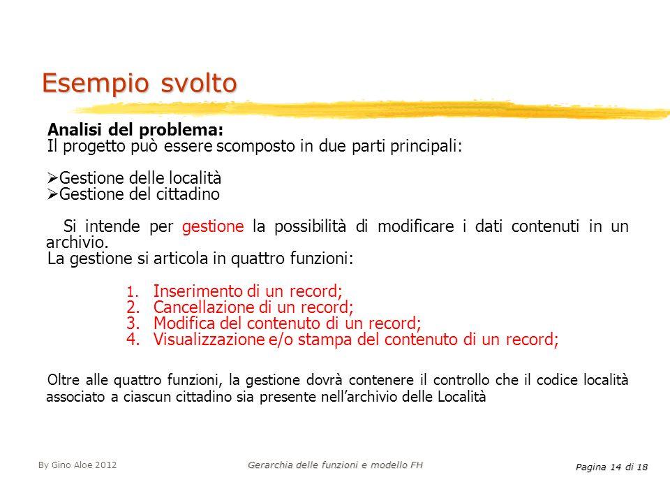 Pagina 14 di 18 By Gino Aloe 2012 Gerarchia delle funzioni e modello FH Esempio svolto Analisi del problema: Il progetto può essere scomposto in due p