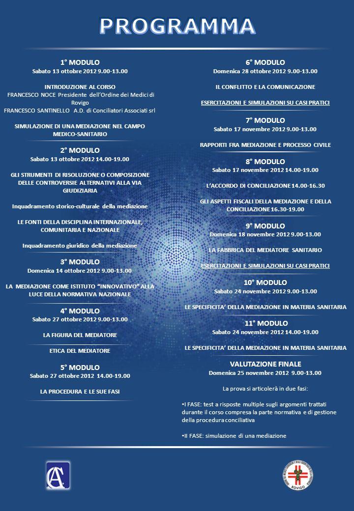 1° MODULO Sabato 13 ottobre 2012 9.00-13.00 INTRODUZIONE AL CORSO FRANCESCO NOCE Presidente dellOrdine dei Medici di Rovigo FRANCESCO SANTINELLO A.D.
