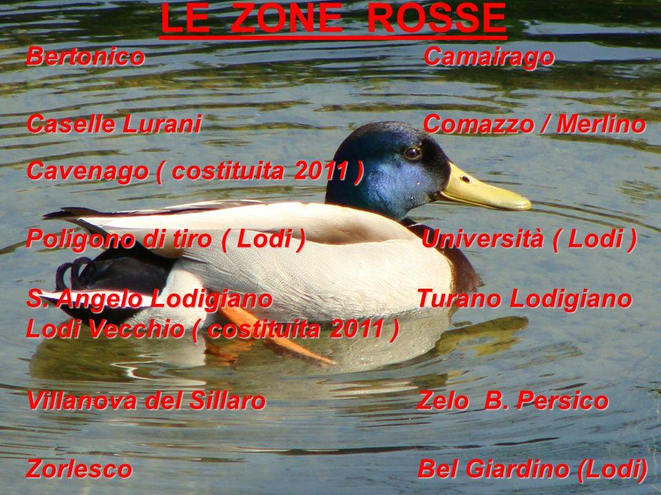LE ZONE ROSSE Bertonico Camairago Caselle Lurani Comazzo / Merlino Cavenago ( costituita 2011 ) Poligono di tiro ( Lodi ) Università ( Lodi ) S. Angel