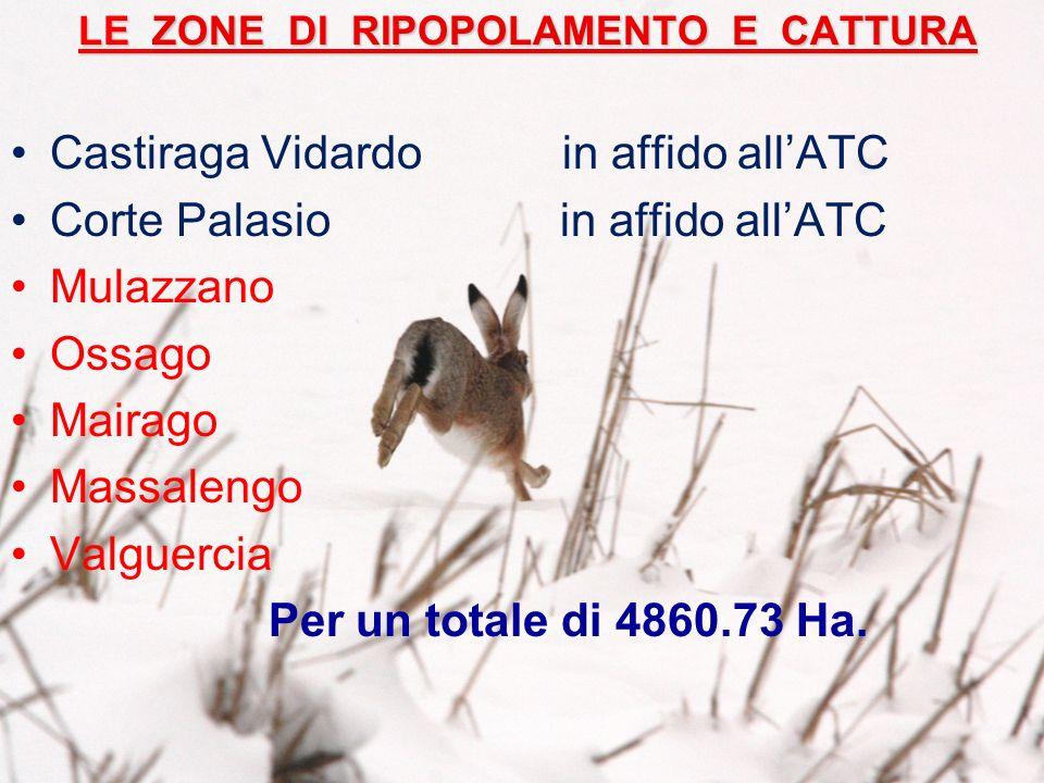 LE ZONE DI RIPOPOLAMENTO E CATTURA Castiraga Vidardo in affido allATC Corte Palasio in affido allATC Mulazzano Ossago Mairago Massalengo Valguercia Per un totale di 4860.73 Ha.
