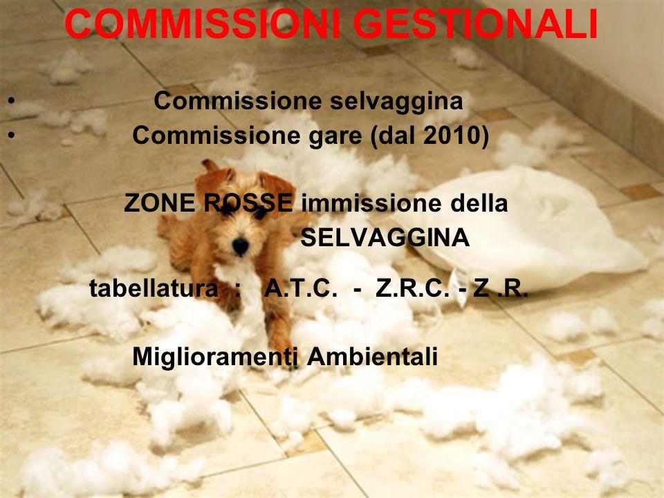 COMMISSIONI GESTIONALI Commissione selvaggina Commissione gare (dal 2010) ZONE ROSSE immissione della SELVAGGINA tabellatura : A.T.C. - Z.R.C. - Z.R.
