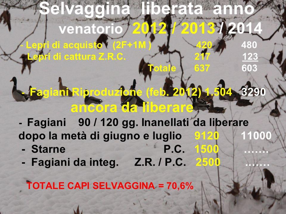 Selvaggina liberata anno venatorio 2012 / 2013 / 2014 - Lepri di acquisto (2F+1M ) 420 480 - Lepri di cattura Z.R.C. 217 123 Totale 637 603 - Fagiani