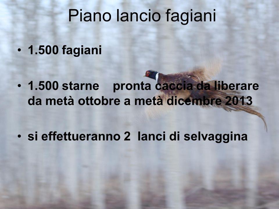 Piano lancio fagiani 1.500 fagiani 1.500 starne pronta caccia da liberare da metà ottobre a metà dicembre 2013 si effettueranno 2 lanci di selvaggina