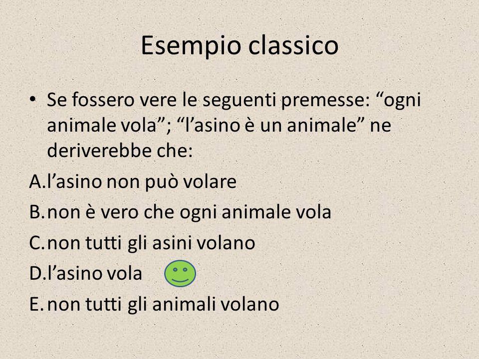 Esempio classico Se fossero vere le seguenti premesse: ogni animale vola; lasino è un animale ne deriverebbe che: A.lasino non può volare B.non è vero