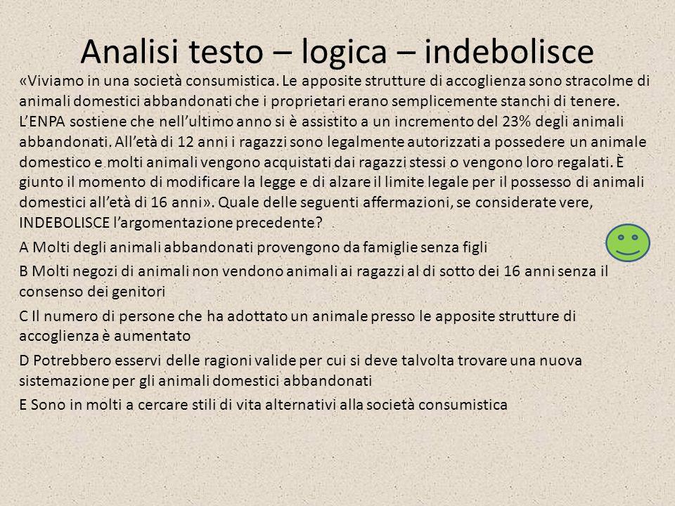 Analisi testo – logica – indebolisce «Viviamo in una società consumistica. Le apposite strutture di accoglienza sono stracolme di animali domestici ab