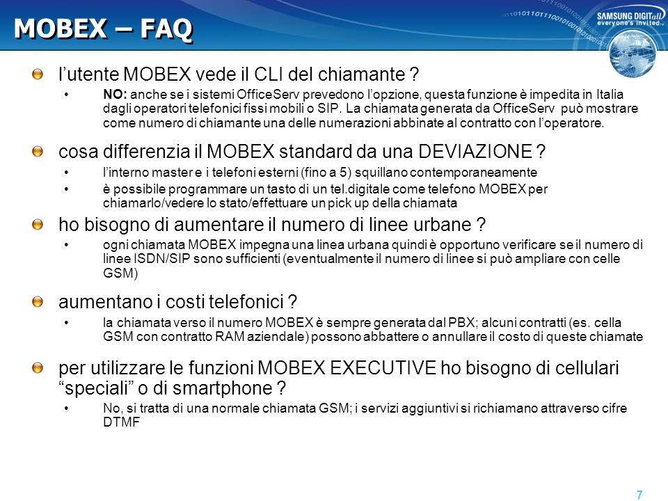 MOBEX – FAQ lutente MOBEX vede il CLI del chiamante .
