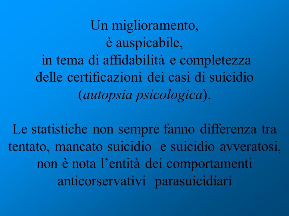 Un miglioramento, è auspicabile, in tema di affidabilità e completezza delle certificazioni dei casi di suicidio (autopsia psicologica). Le statistich