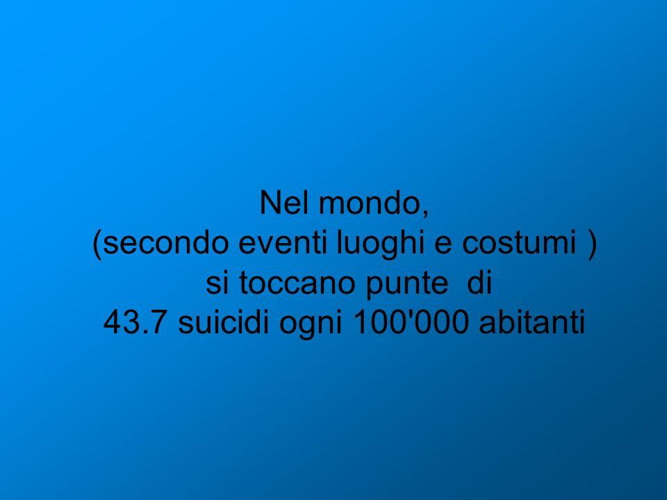 Nel mondo, (secondo eventi luoghi e costumi ) si toccano punte di 43.7 suicidi ogni 100'000 abitanti
